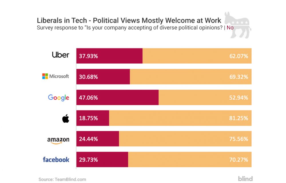 Google employees, Uber employees, Microsoft employees, Apple employees, Amazon employees, Facebook employees, Conservatives, Liberals, Diverse political opinion, workplace transparency